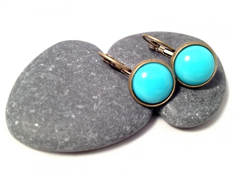 Boucles d'oreille Turquoise en cabochon - Bronze 10 euros
