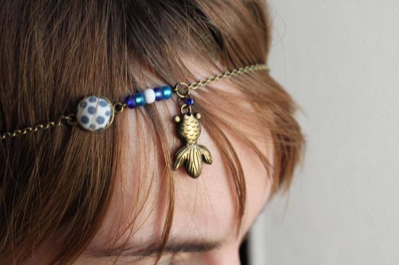 collier réversible head band :poisson bubulle marinière