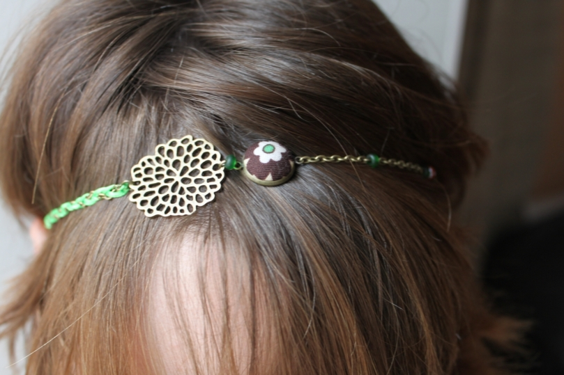 collier réversible headband (3 en 1) fleurs menthe chocolat