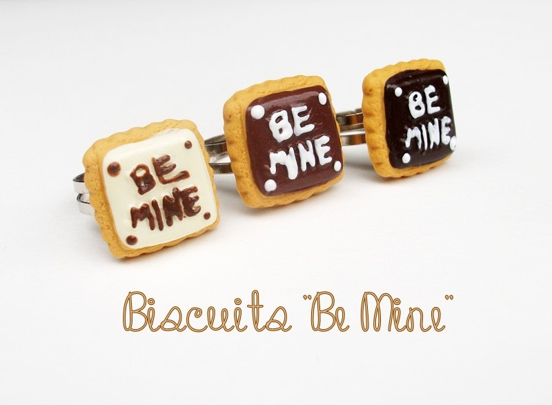"""Bague biscuit """"Be mine"""""""
