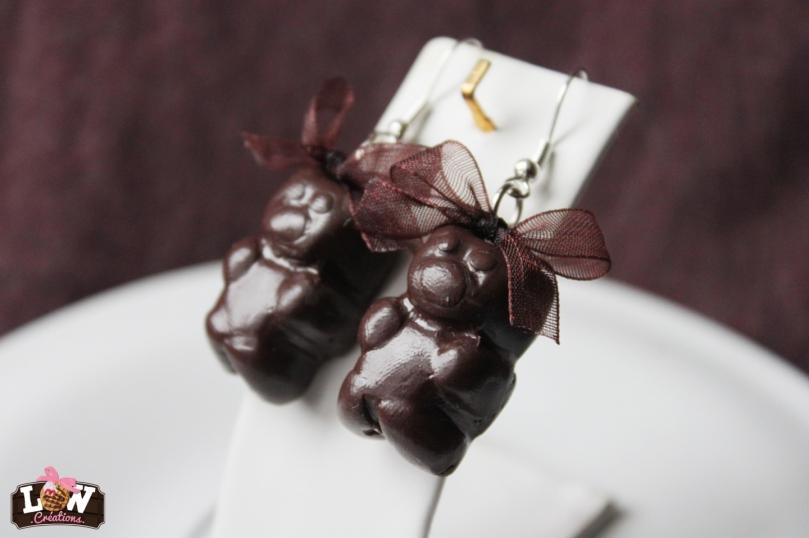 """Boucles d'oreille """"ourson chocolat"""""""