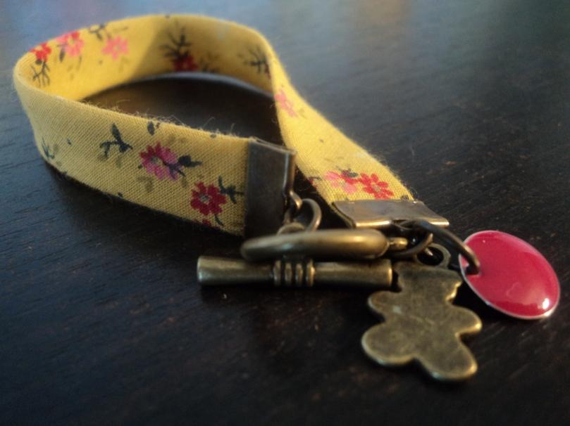 Bracelet Liberty moutarde ourson 16 cm