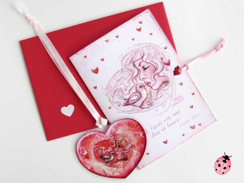Carte St Valentin et marque page