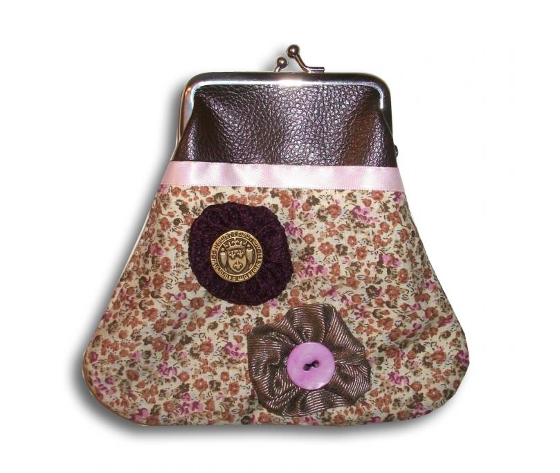 porte monnaie rétro marron beige rose fleur liberty chic classe sac 22.90 euros