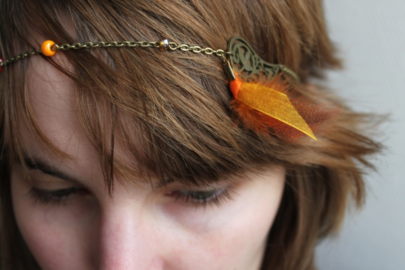 collier réversible headband : ethnique Apache Orange