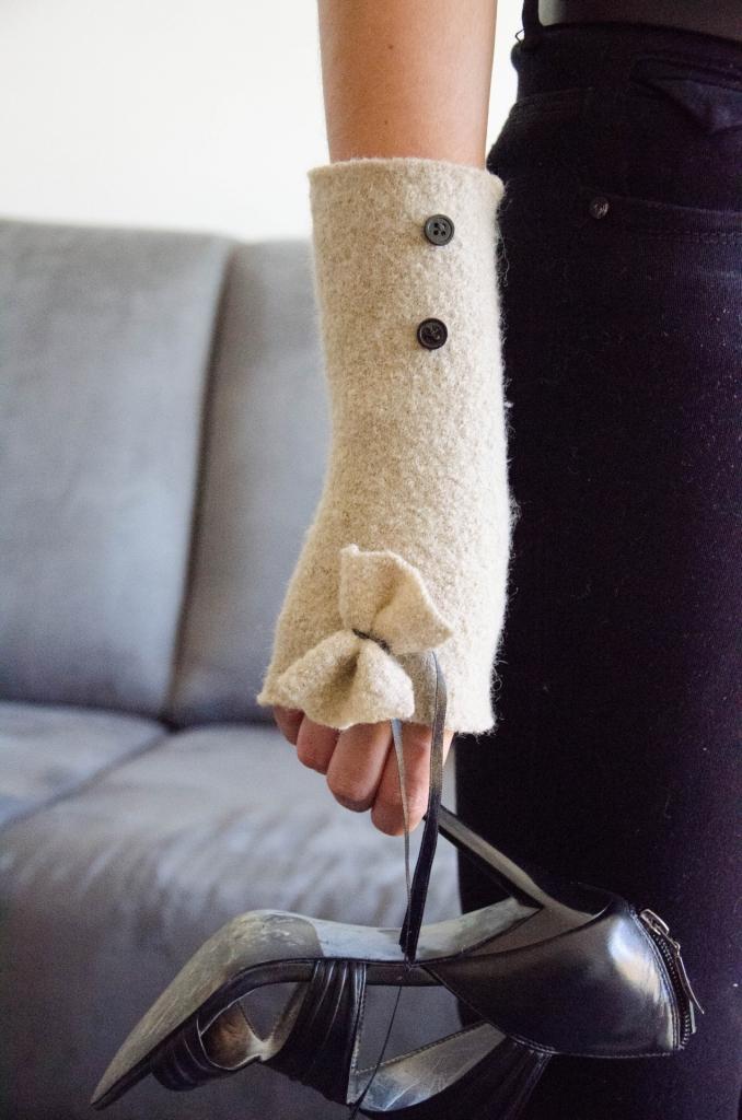 Mitaine en laine bouillie / 5 couleurs disponibles